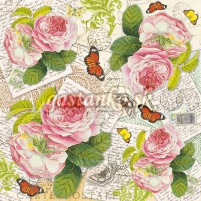 Pohľadnice s ružami a motýľmi