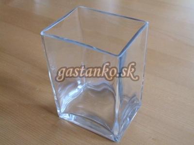 Sklenená váza hranatá 8x10x14cm