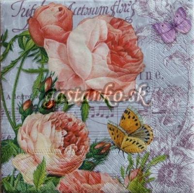 Ruže s motýľmi a notami