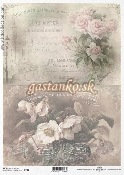 Vintage kvety a nápisy