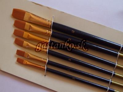 Ploché štetce syntetické 6-set Gold