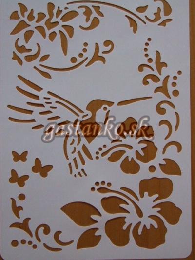 Šablóna Kolibrík a kvety
