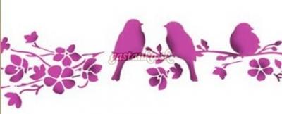 Šablóna Vtáčatká na zakvitnutom konári