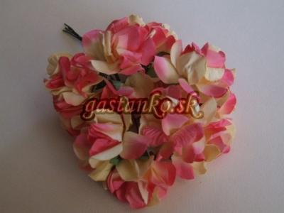 Ružičky 12ks ružovo-krémové