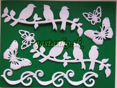 Vtáčiky a motýle biele 3D