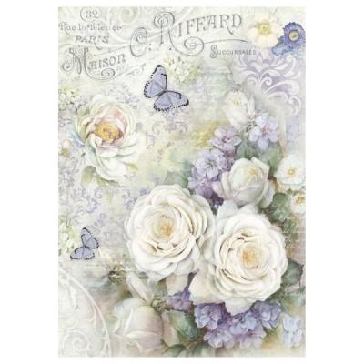 Biele ružičky a fialové kvietky