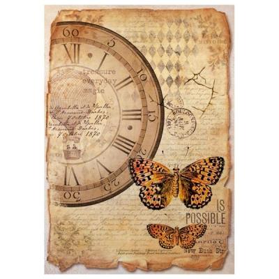 Hodiny a motýle mix media