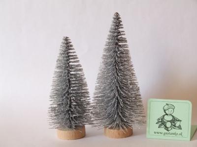 Dva stromčeky glitrované strieborné 8a10cm