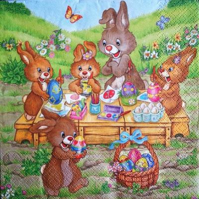 Zajkovia maľujú vajíčka