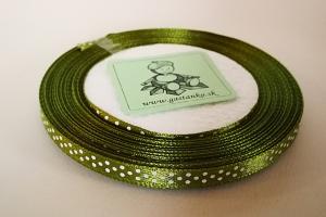 Saténová stužka 6mm bodkovaná olivová