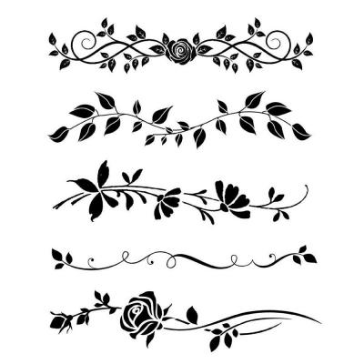 Šablóna Bordúry s ružami a lístkami