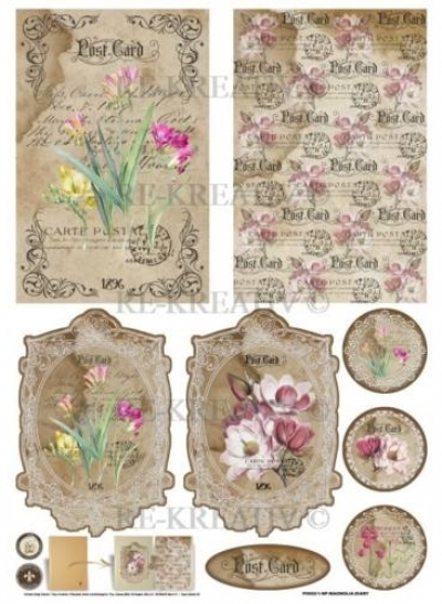 Ružové kvietky na notes A5