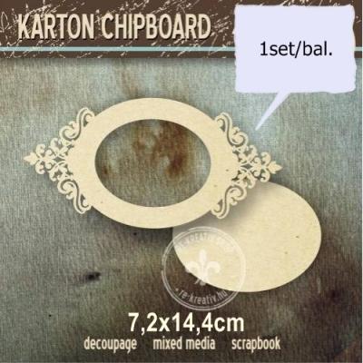 Chipboard Čipkovaný ovál s panelom
