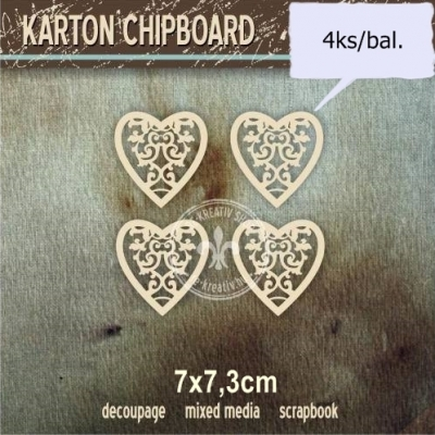 Chipboard Srdiečko s ornamentom