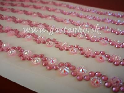 Samolepiace štrasové kamienky v girlande ružové