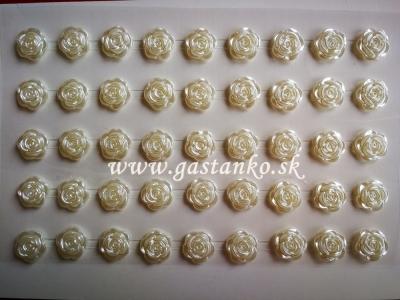 Samolepiace ružičky perleťové biele 11mm