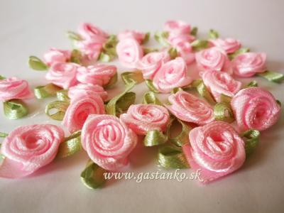 Saténové ružičky 25ks ružové