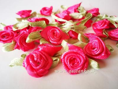 Saténové ružičky 25ks sýtoružové