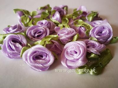 Saténové ružičky 25ks svetlofialové
