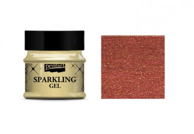 Lazúrový gél červený so zlatými trblietkami