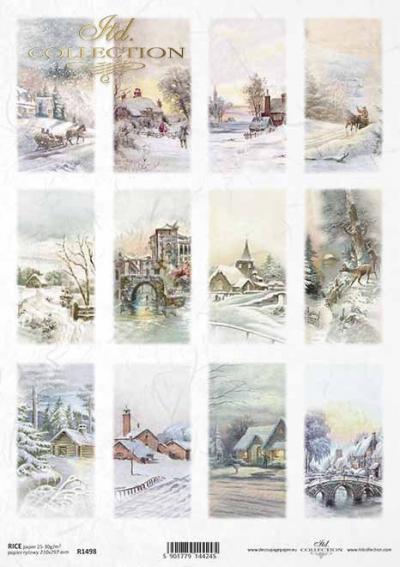 Zimné scény na kartičkách
