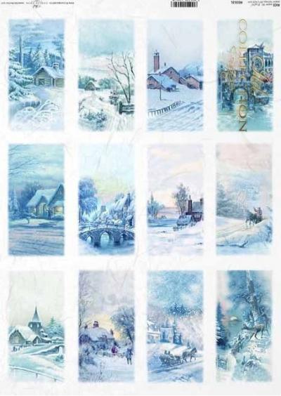 Zimné krajinky na kartičkách v modrom