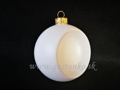 Biela plastová guľa s priehlbinkou 8cm