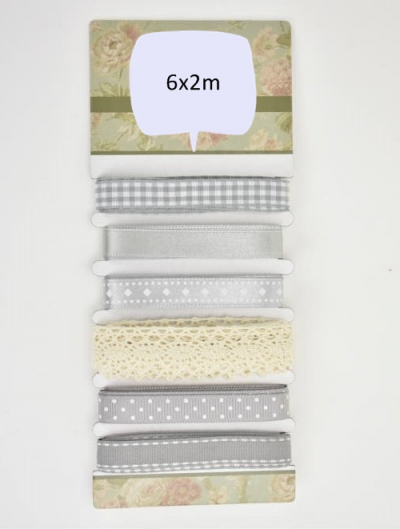 Set stužiek a čipiek 6x2m sivé odtiene