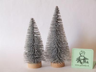 Dva stromčeky glitrované strieborné 4a6cm