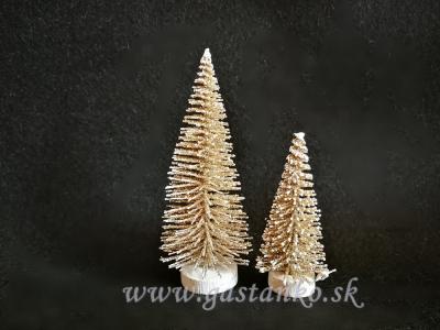 Dva stromčeky glitrované šampanské zlaté 4a6cm