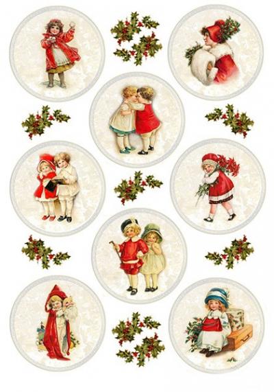 Medailónky s detičkami v červenom oblečku