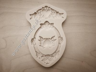 Silikónová forma Ornamentálny rámček a srdiečka
