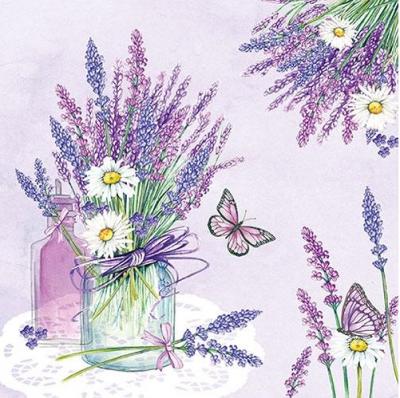 Kytička levandule s margerétkami - lilac