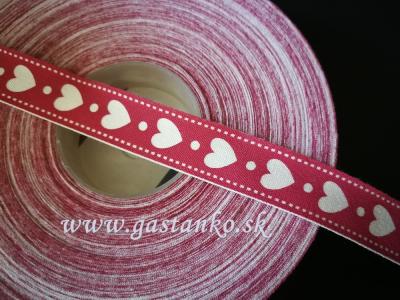 Bavlnená stuha 15mm Srdiečka