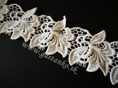 Čipka kvety prírodná biela š60mm