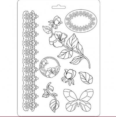 Odlievacia forma plytká Ruže a motýle