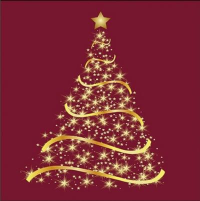 Zlatý stromček na bordovom pozadí