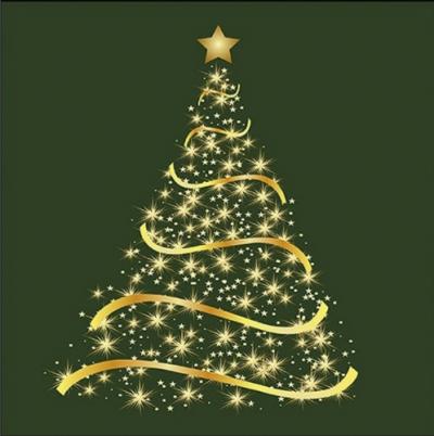 Zlatý stromček na zelenom pozadí