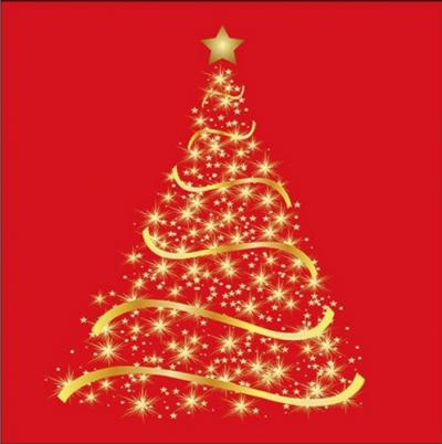 Zlatý stromček na červenom pozadí