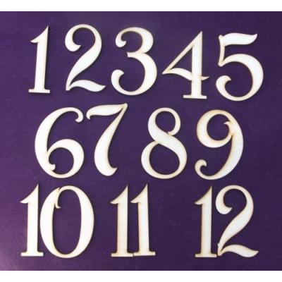 Drevené čísla na hodiny 1až12 5cm