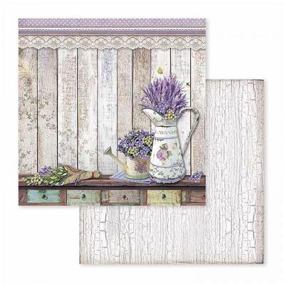 Papier na scrapbooking Provence - konvička s levanduľou