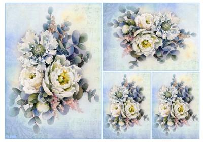 Ryžový papier Ikebany v modrastých tónoch