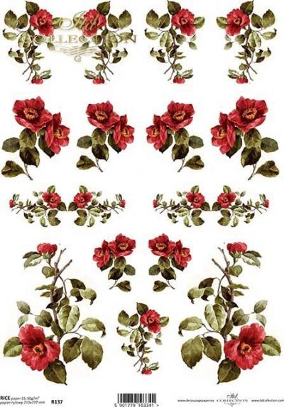 RP Drobné sýtočervené ružičky