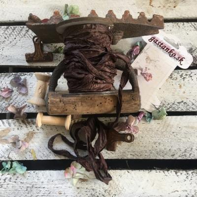 Krčená vintage stuha čokoládovohnedá